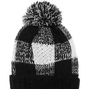 4d7626f7925 Accessories - Ribbed Knit Plaid Checkered Pom Pom Beanie Hat OS